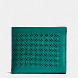 COACH COMPACT ID WALLET IN PERFORATED LEATHER - SEAGREEN/BLACK - F75197