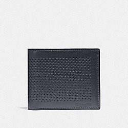 COACH COMPACT ID WALLET - MIDNIGHT NAVY/OXBLOOD - F75197