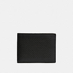 SLIM BILLFOLD ID WALLET IN PERFORATED LEATHER - BLACK - COACH F75227