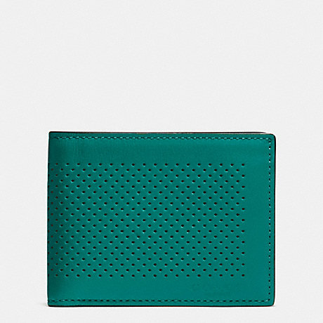 COACH f75227 SLIM BILLFOLD ID WALLET IN PERFORATED LEATHER SEAGREEN/BLACK
