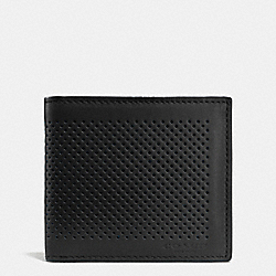 COACH DOUBLE BILLFOLD WALLET IN PERFORATED LEATHER - BLACK - F75278