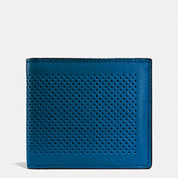 COACH DOUBLE BILLFOLD WALLET IN PERFORATED LEATHER - DENIM - F75278