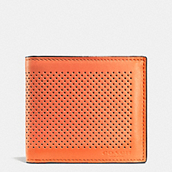 COACH DOUBLE BILLFOLD WALLET IN PERFORATED LEATHER - ORANGE - F75278