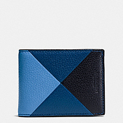 COACH SLIM BILLFOLD WALLET IN PATCHWORK PEBBLE LEATHER - AZURE - F75285