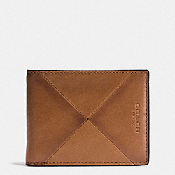 SLIM BILLFOLD WALLET IN PATCHWORK SPORT CALF LEATHER - SADDLE - COACH F75287
