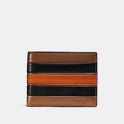 SLIM BILLFOLD WALLET WITH VARSITY STRIPE - DARK SADDLE/BLACK - COACH F75308