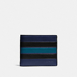 3-IN-1 WALLET WITH VARSITY STRIPE - MIDNIGHT/BLACK/DARK DENIM - COACH F75331