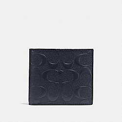 COIN WALLET IN SIGNATURE CROSSGRAIN LEATHER - f75363 - MIDNIGHT NAVY