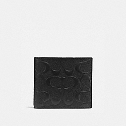 COACH COIN WALLET IN SIGNATURE CROSSGRAIN LEATHER - BLACK - F75363