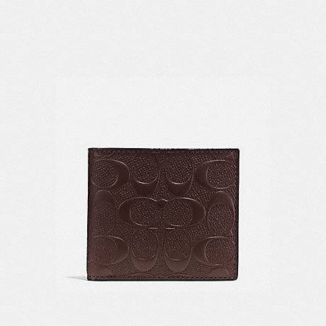 COACH COIN WALLET IN SIGNATURE CROSSGRAIN LEATHER - MAHOGANY - f75363