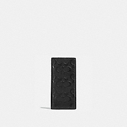 COACH BREAST POCKET WALLET IN SIGNATURE CROSSGRAIN LEATHER - BLACK - F75365