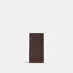 COACH BREAST POCKET WALLET IN SIGNATURE CROSSGRAIN LEATHER - MAHOGANY - F75365