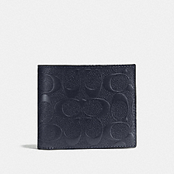 COACH COMPACT ID WALLET IN SIGNATURE CROSSGRAIN LEATHER - MIDNIGHT NAVY - F75371