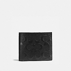 COACH COMPACT ID WALLET IN SIGNATURE CROSSGRAIN LEATHER - BLACK - F75371