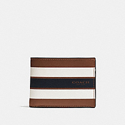 SLIM BILLFOLD WALLET IN VARSITY LEATHER - DARK SADDLE - COACH F75386