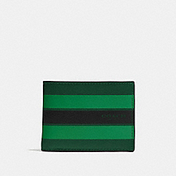 COACH SLIM BILLFOLD WALLET IN VARSITY LEATHER - PALM/PINE/BLACK - F75386