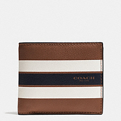 COIN WALLET IN VARSITY LEATHER - DARK SADDLE - COACH F75394