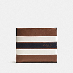 COMPACT ID WALLET IN VARSITY LEATHER - DARK SADDLE - COACH F75399