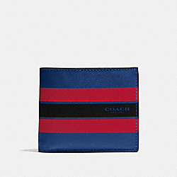COACH COMPACT ID WALLET IN VARSITY LEATHER - INDIGO/BRIGHT RED - F75399