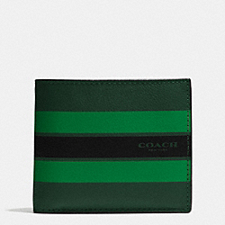 COMPACT ID WALLET IN VARSITY LEATHER - PALM/PINE/BLACK - COACH F75399