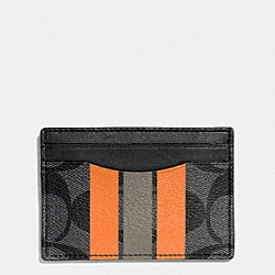 COACH CARD CASE IN VARISTY SIGNATURE - CHARCOAL/ORANGE - F75421