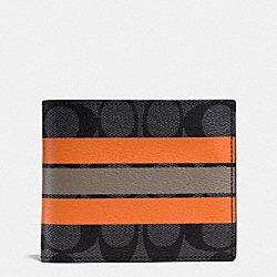 COACH COMPACT ID WALLET IN VARSITY SIGNATURE - CHARCOAL/ORANGE - F75426
