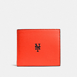 COACH MLB COMPACT ID WALLET IN SPORT CALF LEATHER - NY METS - F75433