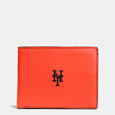 COACH MLB SLIM BILLFOLD WALLET - NY METS - F75435