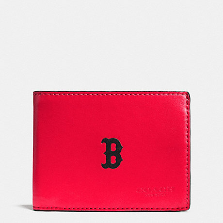COACH MLB SLIM BILLFOLD WALLET - BOS RED SOX - F75435