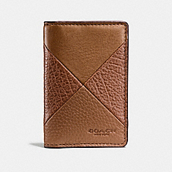 COACH CARD WALLET IN PATCHWORK LEATHER - DARK SADDLE - F75436