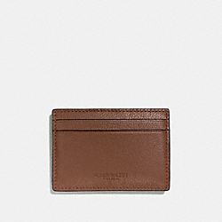 COACH MONEY CLIP CARD CASE IN CALF LEATHER - DARK SADDLE - F75459