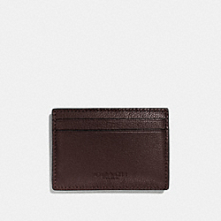 COACH MONEY CLIP CARD CASE IN CALF LEATHER - MAHOGANY - F75459