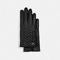 SCULPTED SIGNATURE QUILTED LEATHER TECH GLOVES - BLACK - COACH F75542