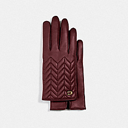 SCULPTED SIGNATURE QUILTED LEATHER TECH GLOVES - WINE - COACH F75542