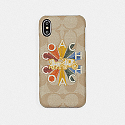 IPHONE X CASE IN SIGNATURE CANVAS WITH COACH RADIAL RAINBOW - IVORY MULTI - COACH F75624