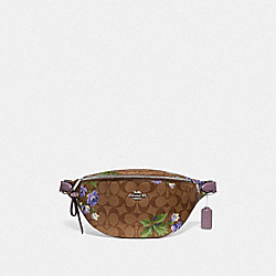 BELT BAG IN SIGNATURE CANVAS WITH LILY PRINT - KHAKI/PURPLE MULTI/SILVER - COACH F75701