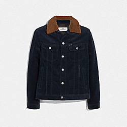 CORDUROY JACKET WITH SHEARLING COLLAR - NAVY - COACH F75737