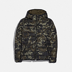 REVERSIBLE DOWN JACKET WITH HOOD - GMC/MIL GREEN - COACH F75748