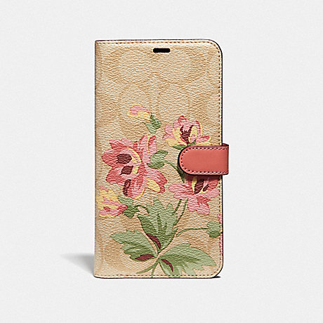 COACH IPHONE XS MAX FOLIO IN SIGNATURE CANVAS WITH LILY BOUQUET PRINT - LIGHT KHAKI/PINK - F75842