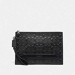STRUCTURED POUCH IN SIGNATURE LEATHER - BLACK - COACH F75914
