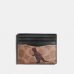 CARD CASE IN SIGNATURE CANVAS WITH REXY BY SUI JIANGUO - V5/TAN BLACK - COACH F76000