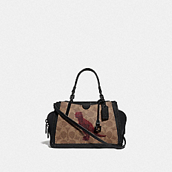 DREAMER 21 IN SIGNATURE CANVAS WITH REXY BY SUI JIANGUO - V5/TAN BLACK - COACH F76011