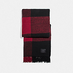 BIG PLAID PRINT SCARF - RED - COACH F76058