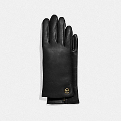 HORSE AND CARRIAGE PLAQUE LEATHER TECH GLOVES - BLACK - COACH F76310