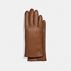 HORSE AND CARRIAGE PLAQUE LEATHER TECH GLOVES - SADDLE - COACH F76310