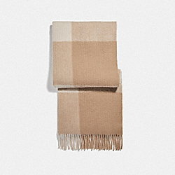 BUFFALO PLAID PRINT OVERSIZED MUFFLER - CAMEL - COACH F76389