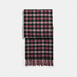 REVERSIBLE SIGNATURE GINGHAM PRINT MUFFLER - ROSE - COACH F76390