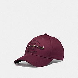 COACH HUDSON FLORAL HAT - BURGUNDY - COACH F76471