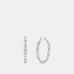 SIGNATURE LINK HOOP EARRINGS - SILVER - COACH F76476