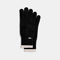 COLORBLOCKED KNIT TECH GLOVES - BLACK - COACH F76490